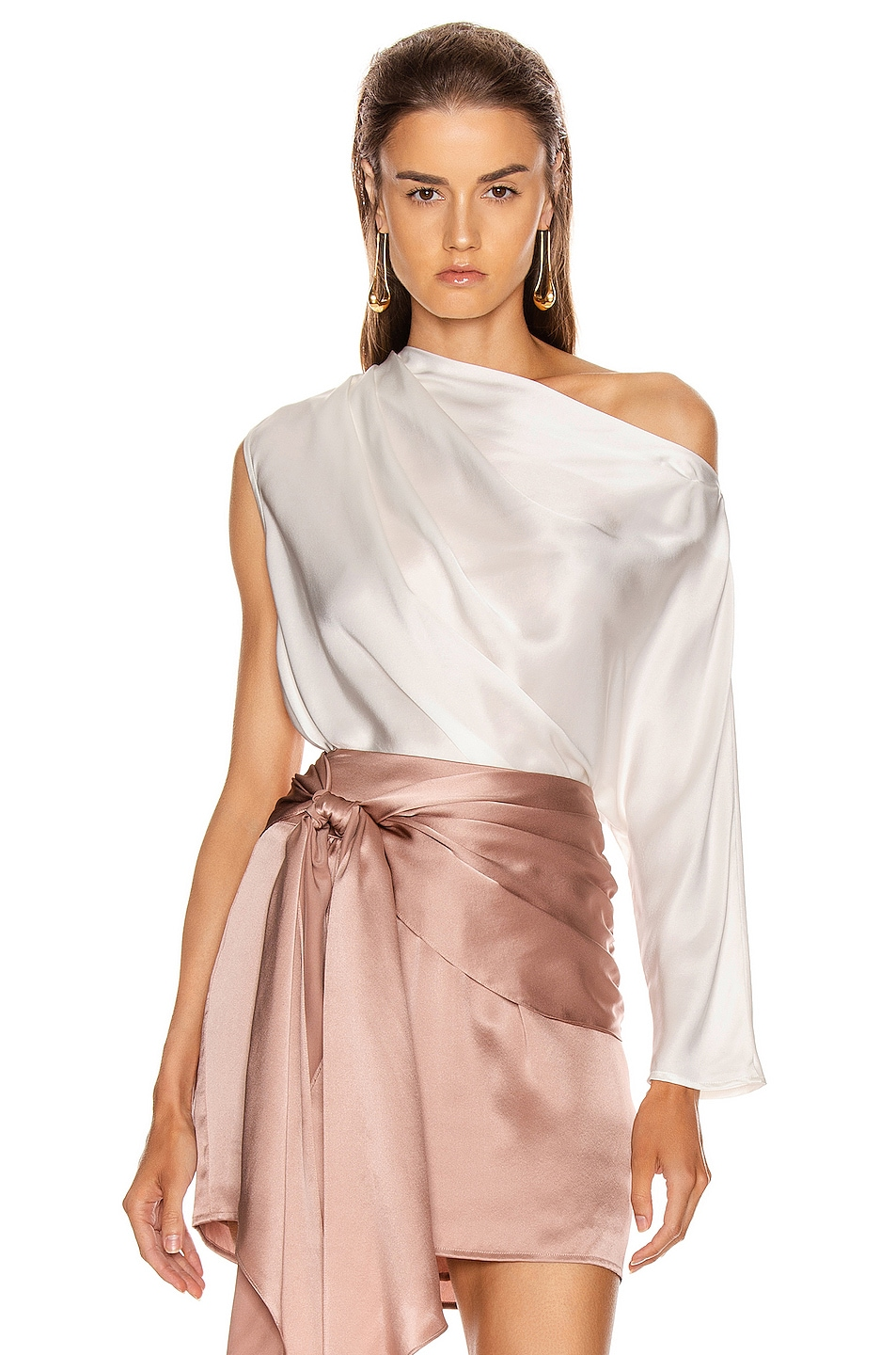 Image 1 of Michelle Mason One Sleeve Draped Top in Ivory