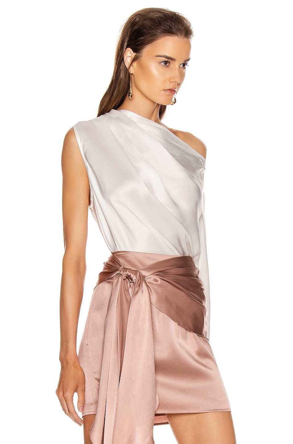 Image 2 of Michelle Mason One Sleeve Draped Top in Ivory
