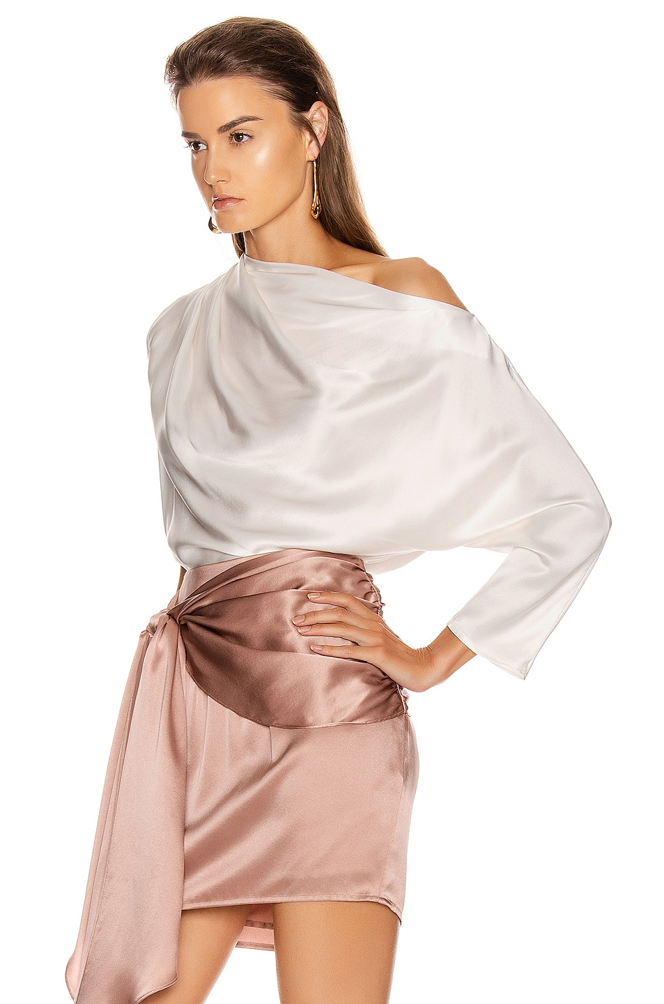 Image 3 of Michelle Mason One Sleeve Draped Top in Ivory