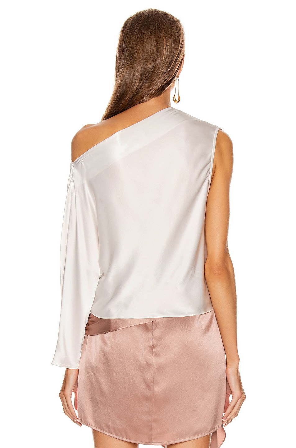 Image 4 of Michelle Mason One Sleeve Draped Top in Ivory