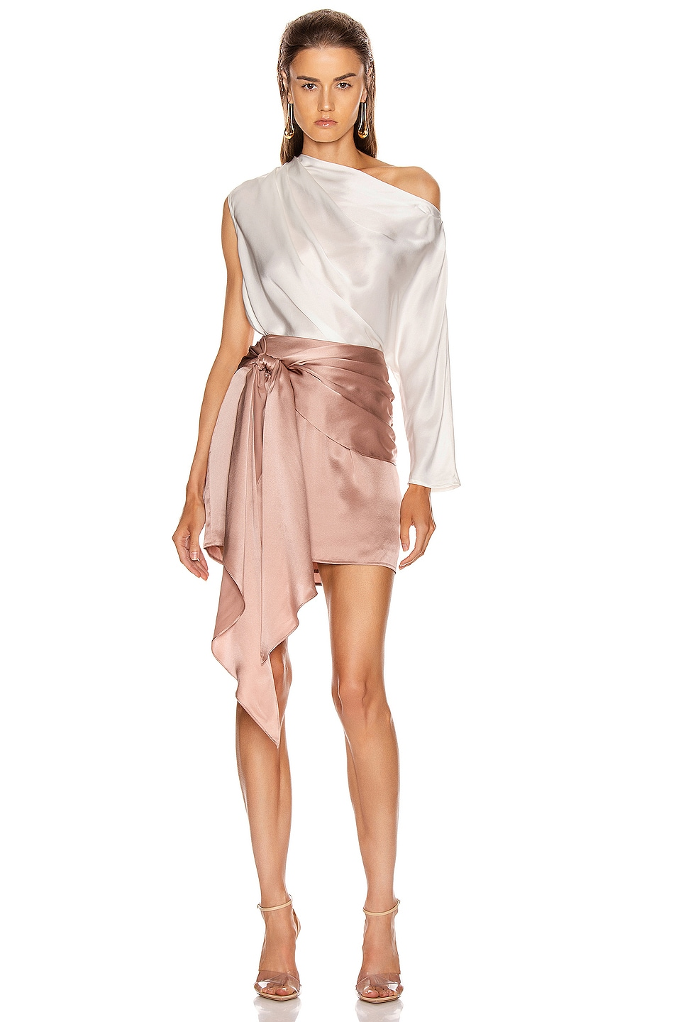 Image 5 of Michelle Mason One Sleeve Draped Top in Ivory
