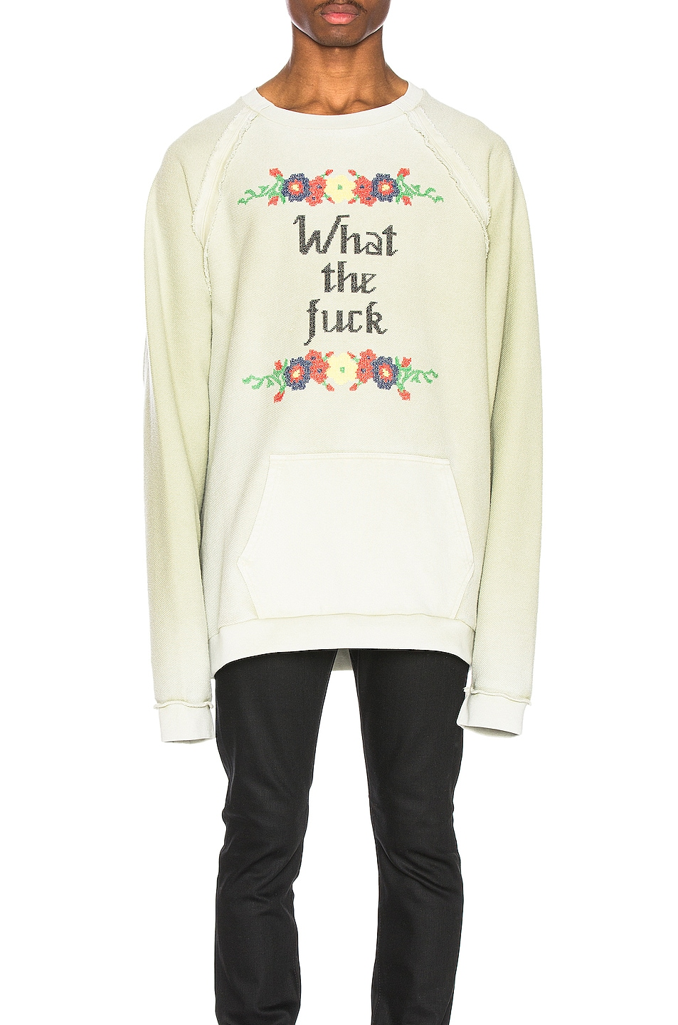 Image 1 of Maison Margiela Fade Garment Graphic Long Sleeve Tee in Lichen Green