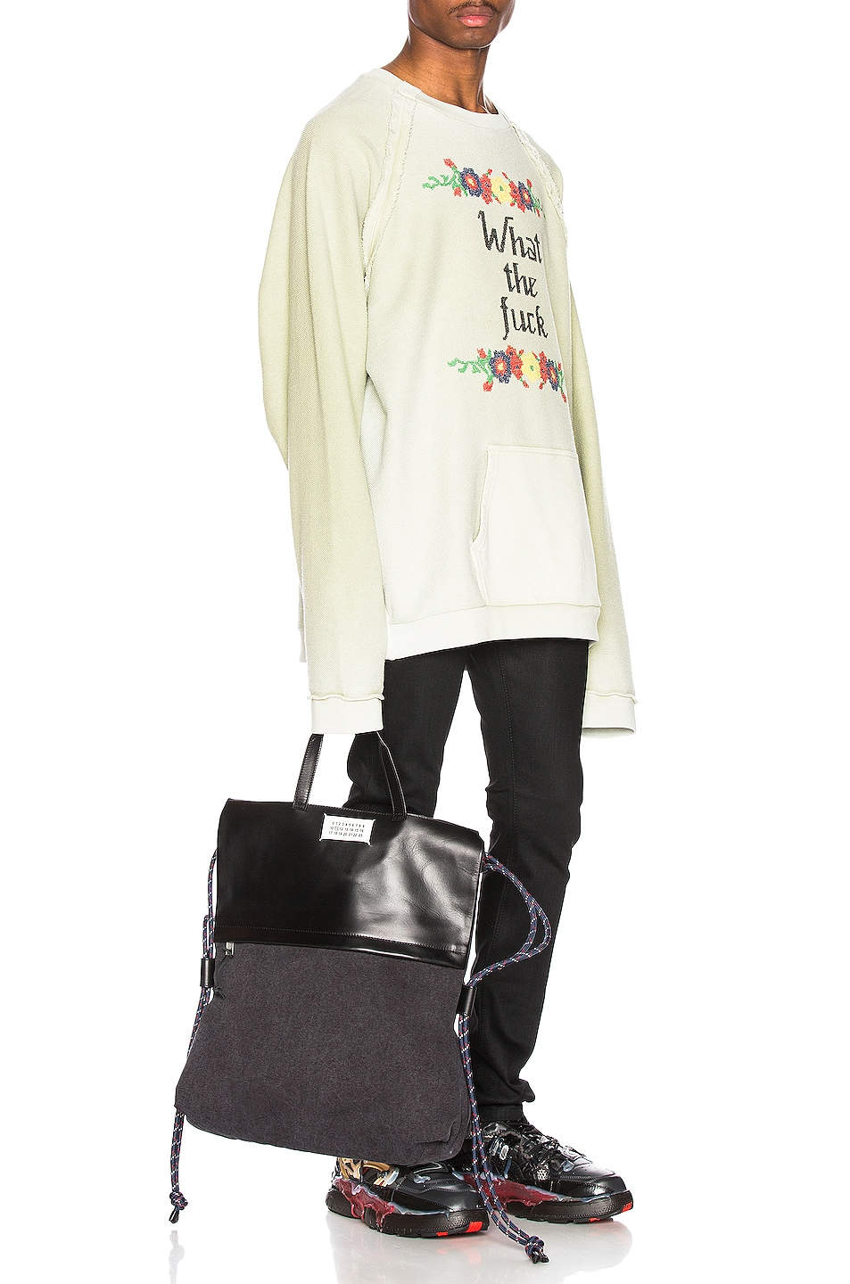 Image 4 of Maison Margiela Fade Garment Graphic Long Sleeve Tee in Lichen Green