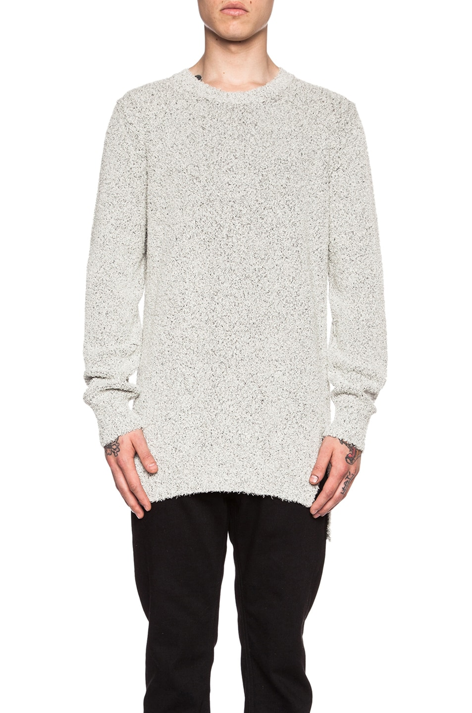 Maison Margiela Long Gauge Cotton-Blend Sweater in Grey | FWRD
