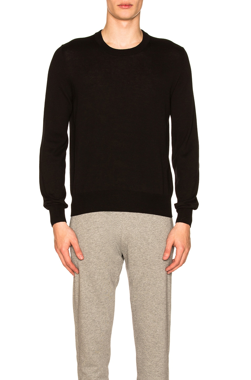 Image 1 of Maison Margiela Suede Patch Pullover Sweater in Black