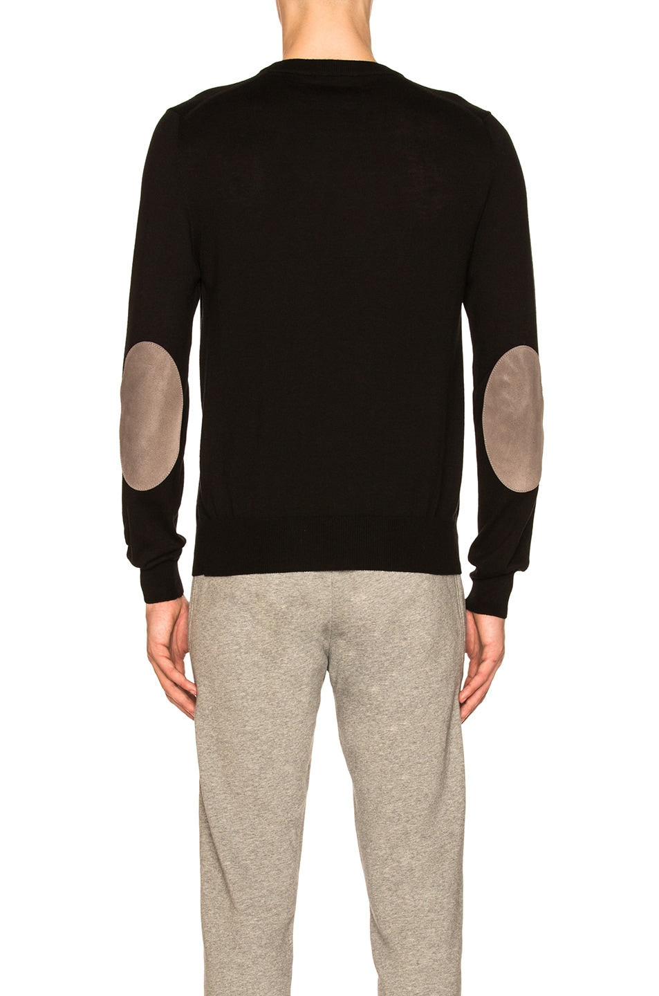 Image 3 of Maison Margiela Suede Patch Pullover Sweater in Black