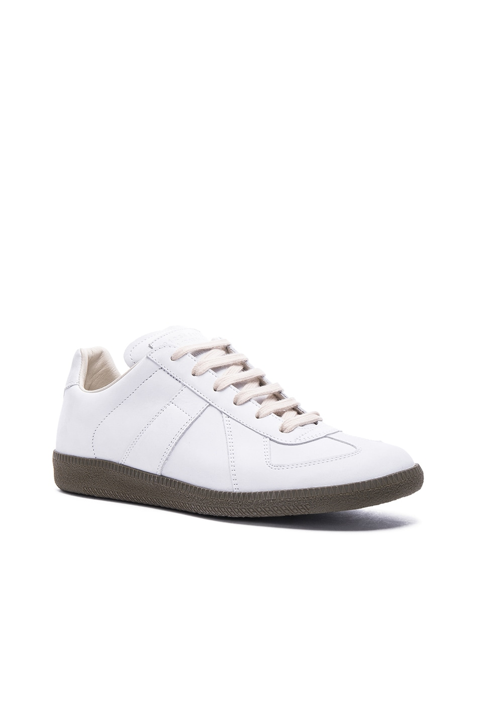 Image 1 of Maison Margiela Nubuck Replica Sneakers in White & Khaki