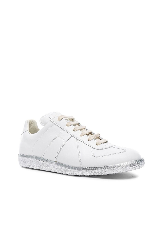 86199b20708 Maison Margiela Replica Sneakers in White & Silver | FWRD