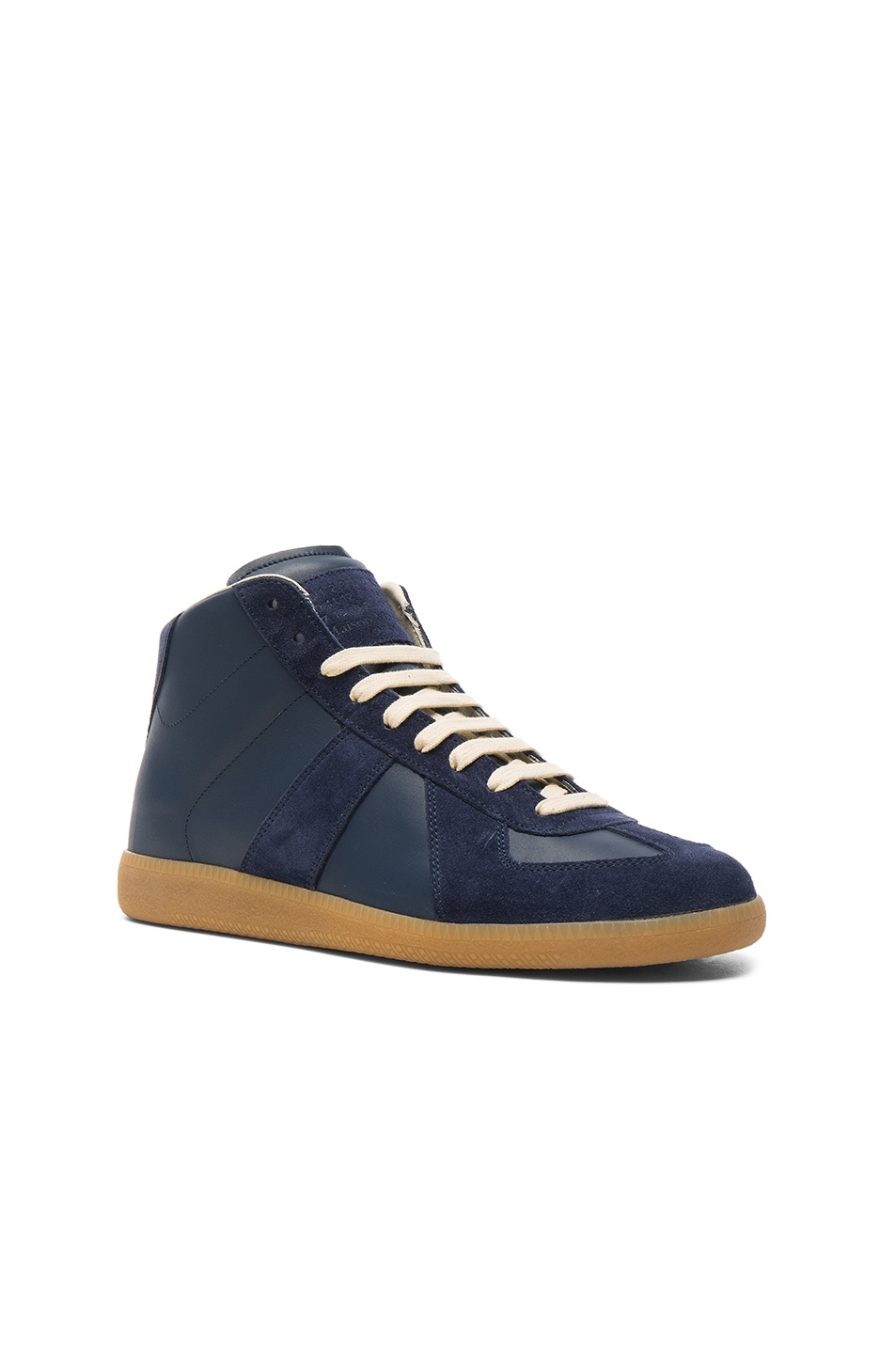 Replica Leather And Suede High-top Sneakers Maison Martin Margiela dgN0j5tu9