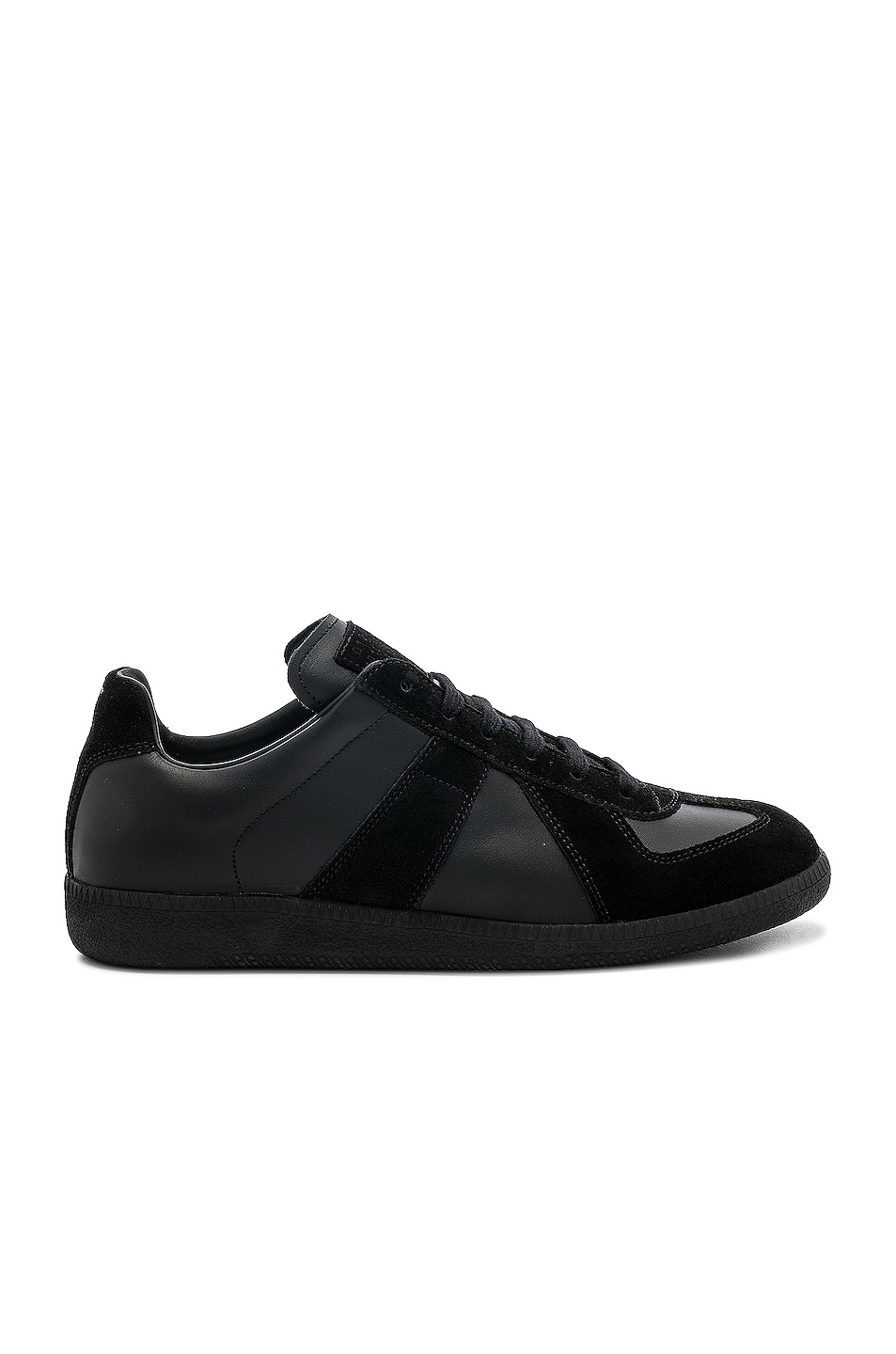 Image 1 of Maison Margiela Soft Leather & Velour Replica Sneakers in Black
