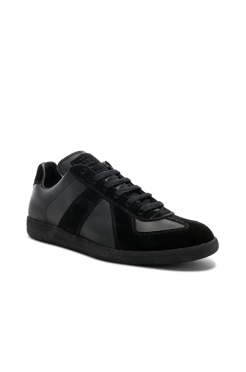 Image 2 of Maison Margiela Soft Leather & Velour Replica Sneakers in Black