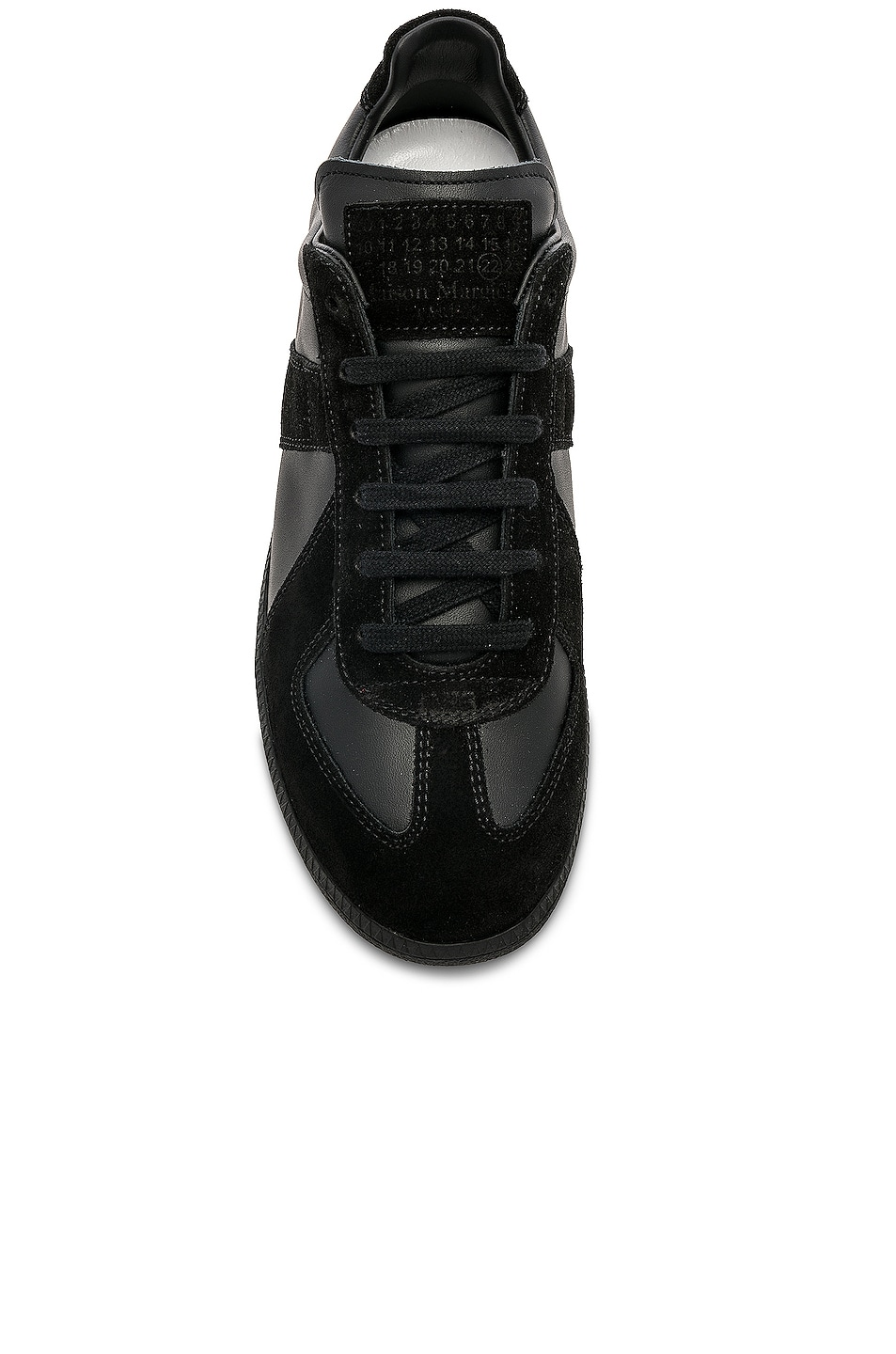 Image 4 of Maison Margiela Soft Leather & Velour Replica Sneakers in Black