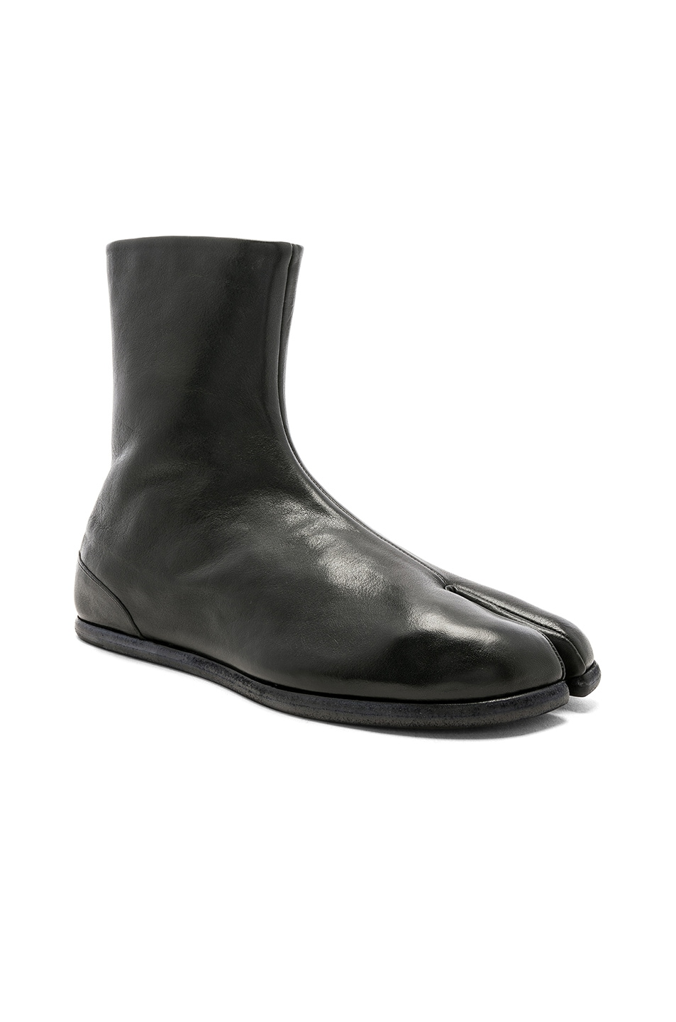 Image 1 of Maison Margiela Leather Tabi Boots in Black