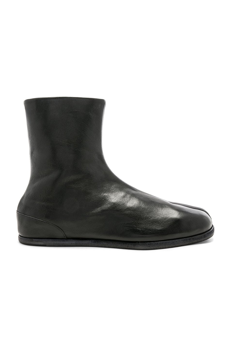 Image 2 of Maison Margiela Leather Tabi Boots in Black
