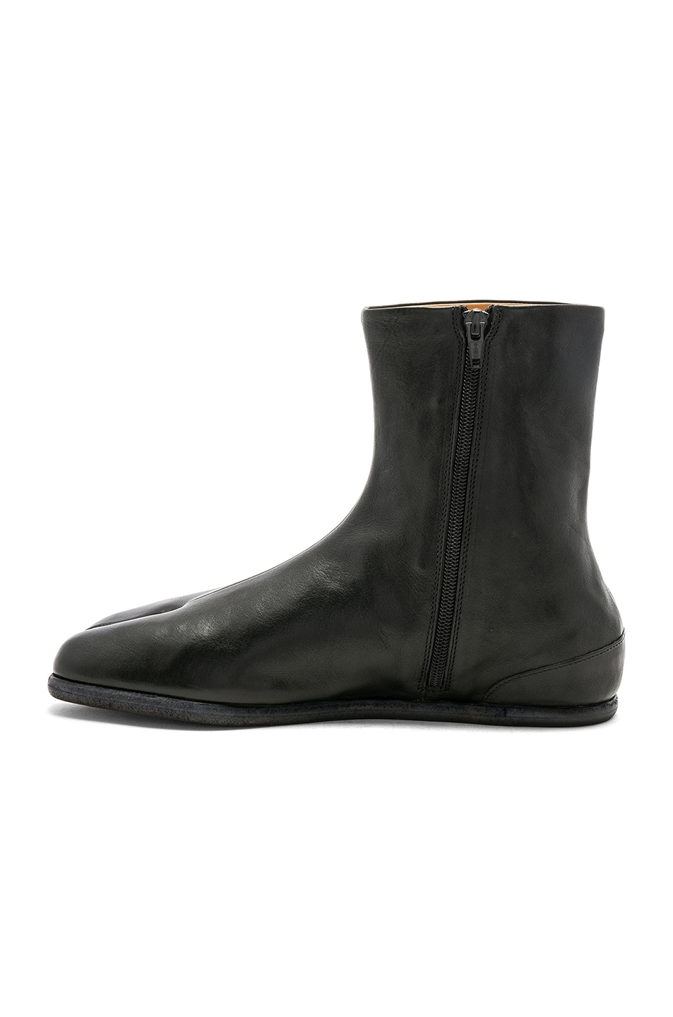Image 5 of Maison Margiela Leather Tabi Boots in Black