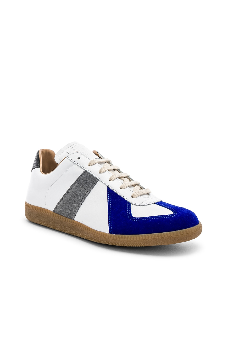 Image 1 of Maison Margiela Leather Replica Low Tops in White & Blue