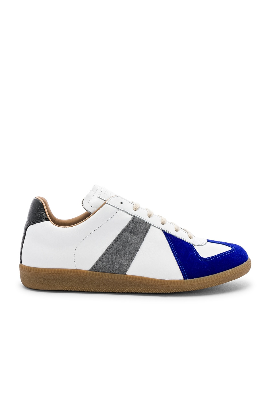 Image 2 of Maison Margiela Leather Replica Low Tops in White & Blue