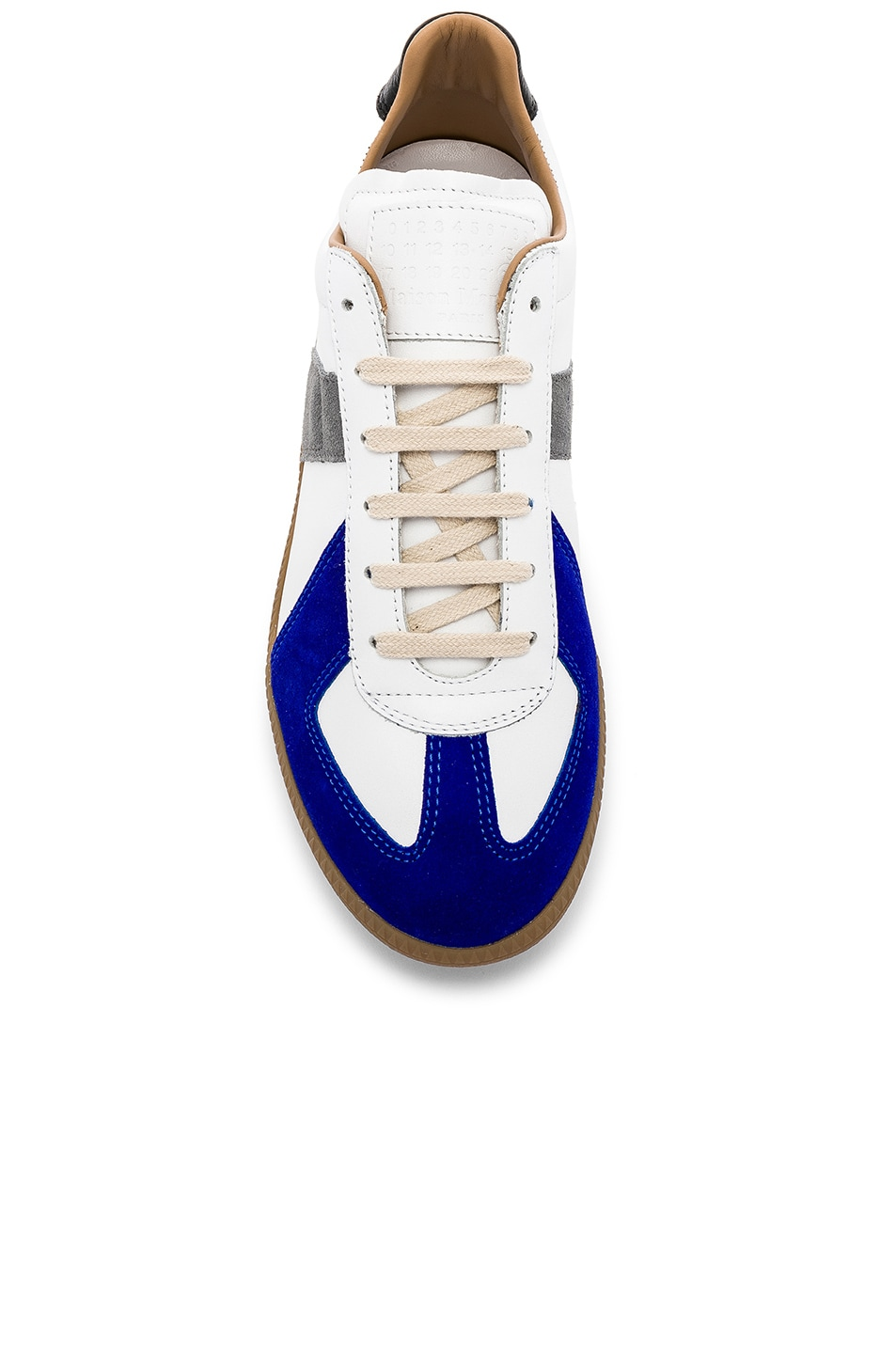 Image 4 of Maison Margiela Leather Replica Low Tops in White & Blue
