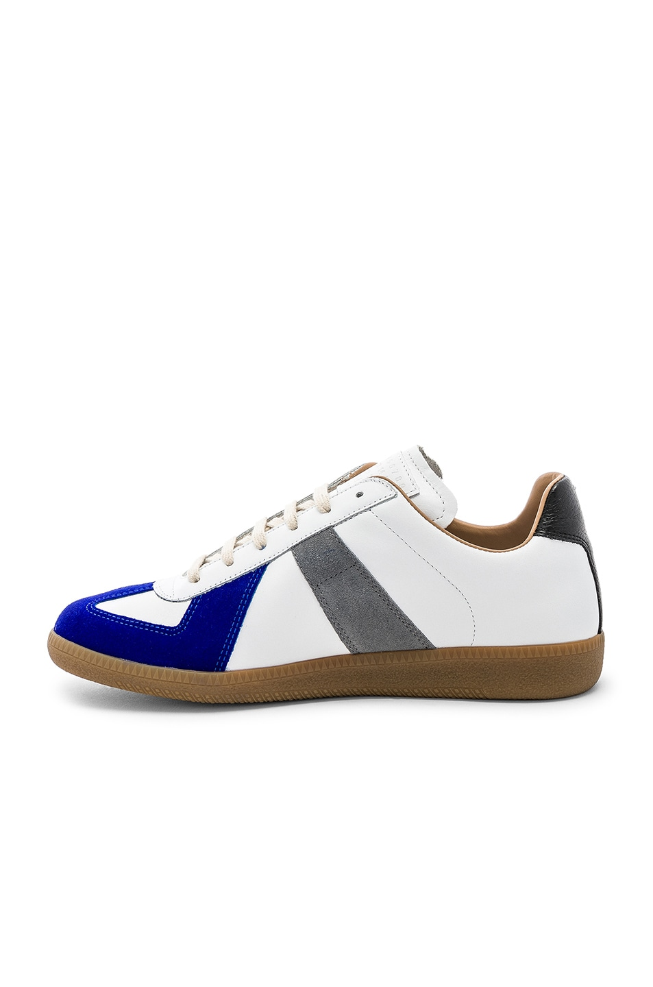Image 5 of Maison Margiela Leather Replica Low Tops in White & Blue