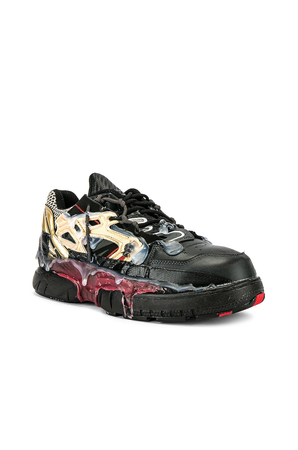 Image 1 of Maison Margiela Fusion Low Top in Black & Gold & Red