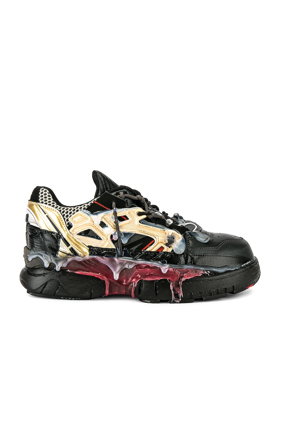 Image 2 of Maison Margiela Fusion Low Top in Black & Gold & Red