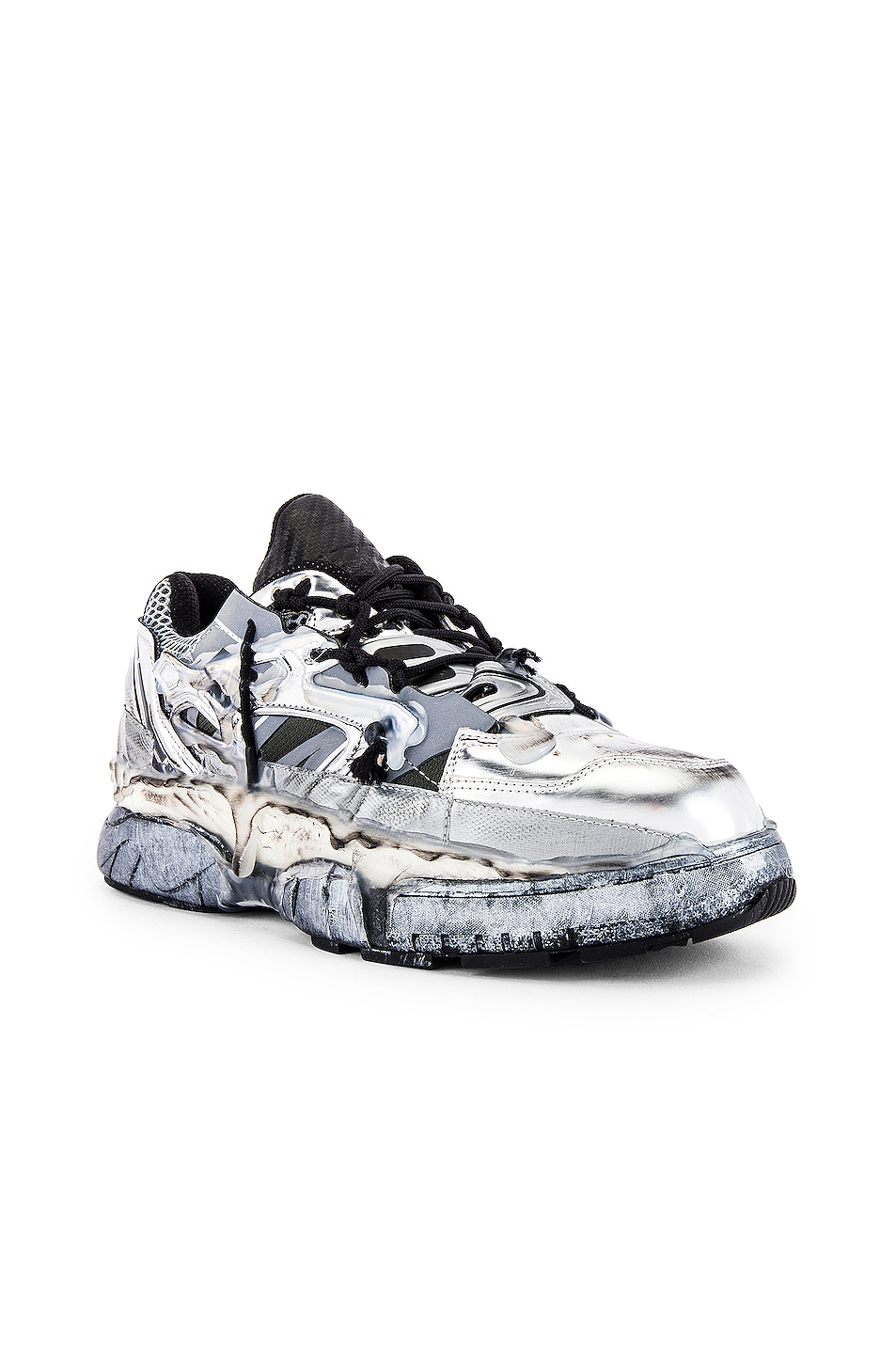 Image 1 of Maison Margiela Fusion Low Top in White & Black & Silver