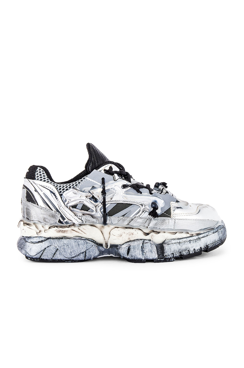 Image 2 of Maison Margiela Fusion Low Top in White & Black & Silver