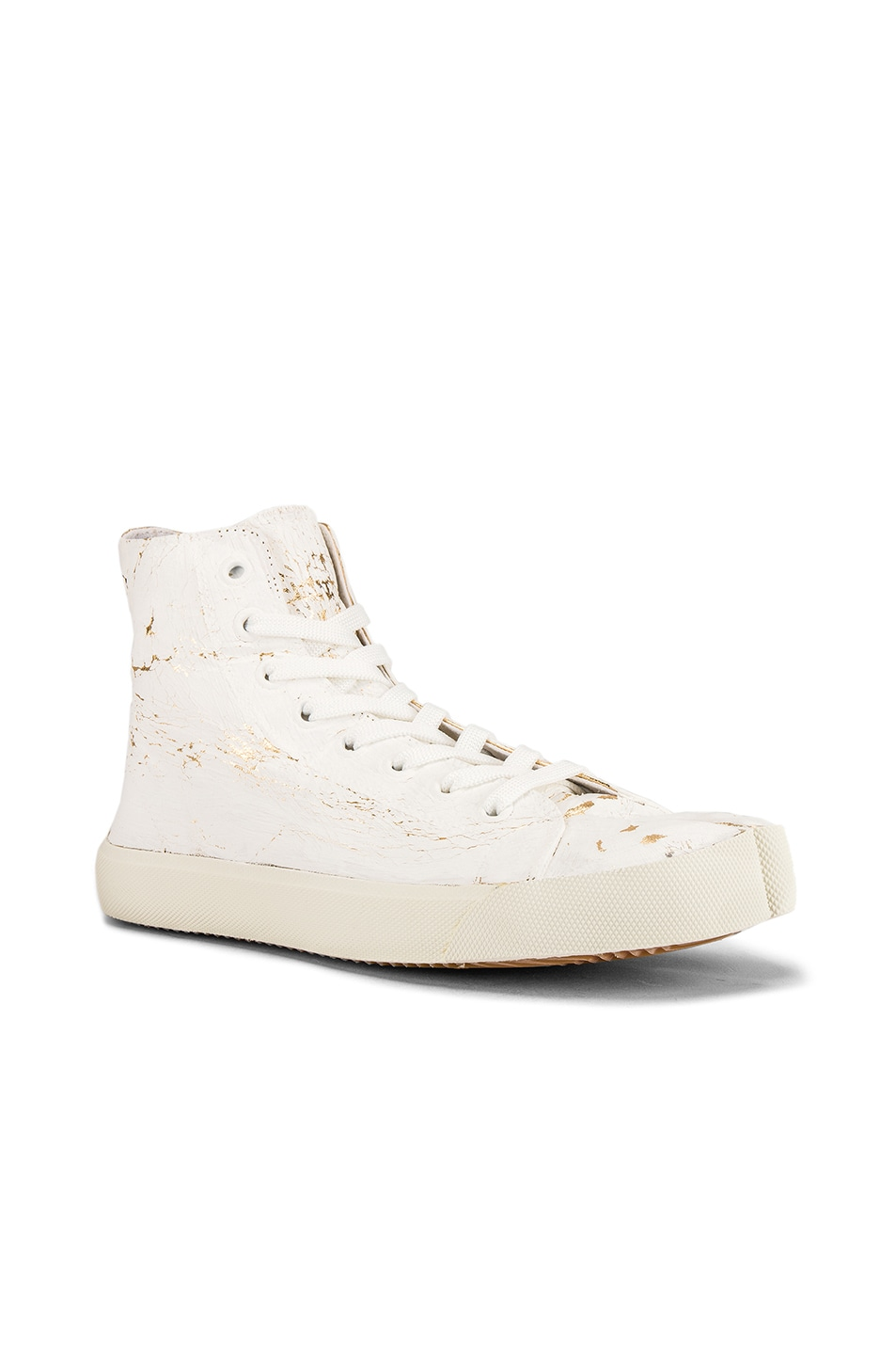 Image 1 of Maison Margiela Vandal Tabi Hi Top Sneaker in White & Gold