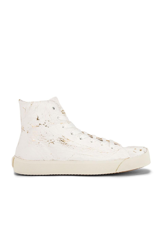 Image 2 of Maison Margiela Vandal Tabi Hi Top Sneaker in White & Gold