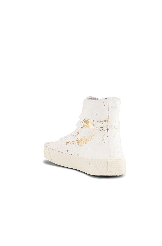 Image 3 of Maison Margiela Vandal Tabi Hi Top Sneaker in White & Gold