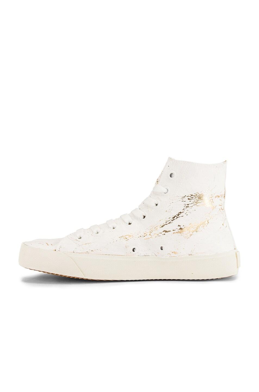 Image 5 of Maison Margiela Vandal Tabi Hi Top Sneaker in White & Gold