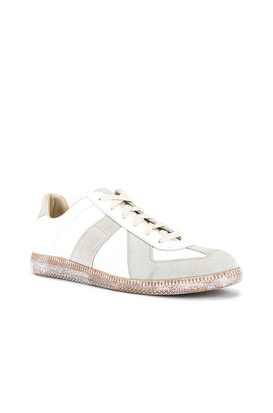 Image 1 of Maison Margiela Replica Low Top Vintage Sneaker in Off-White & Honey Sole