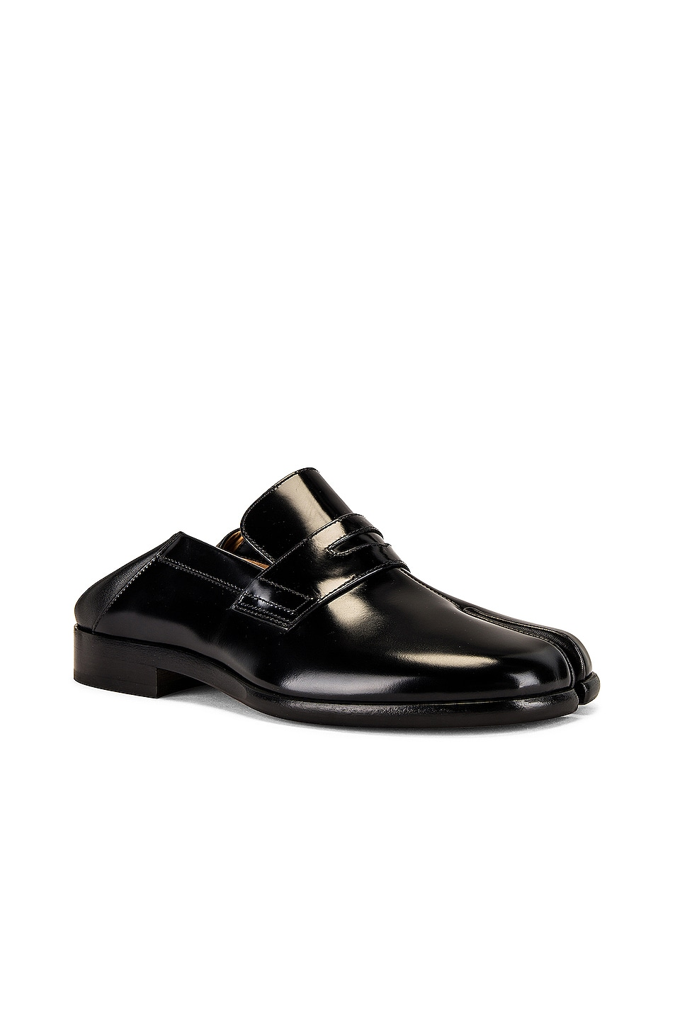 Image 1 of Maison Margiela Tabi Leather Loafers in Black