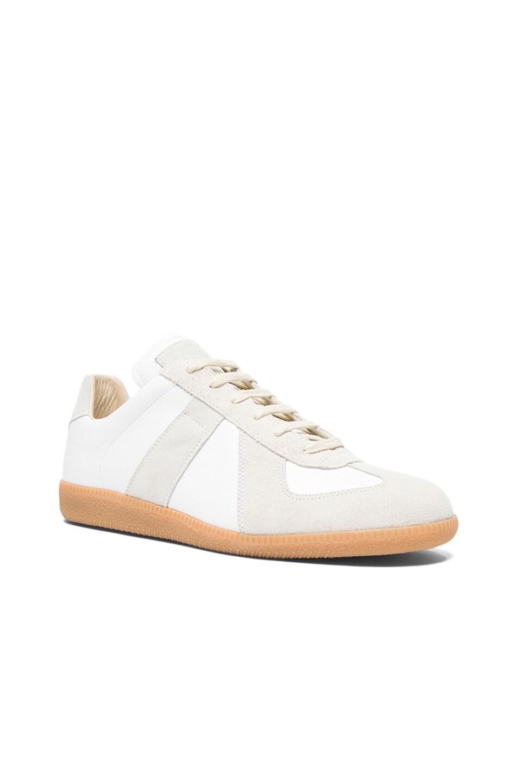 Image 1 of Maison Margiela Replica Bovine Leather Sneakers in White