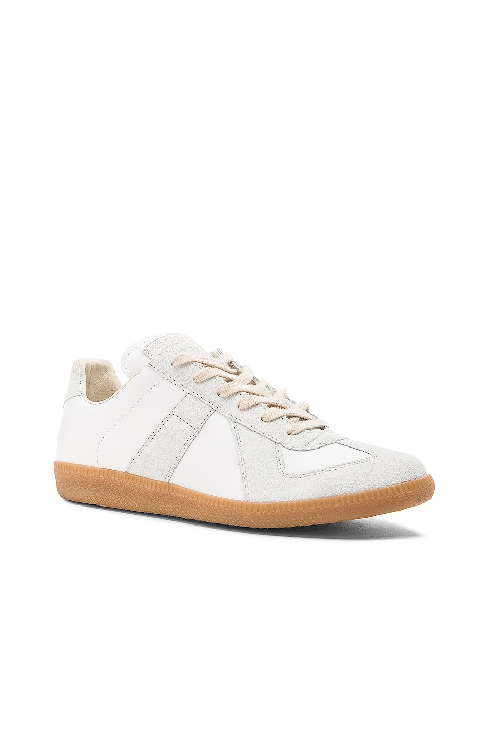 Image 2 of Maison Margiela Replica Calf & Lambskin Leather Sneakers in White