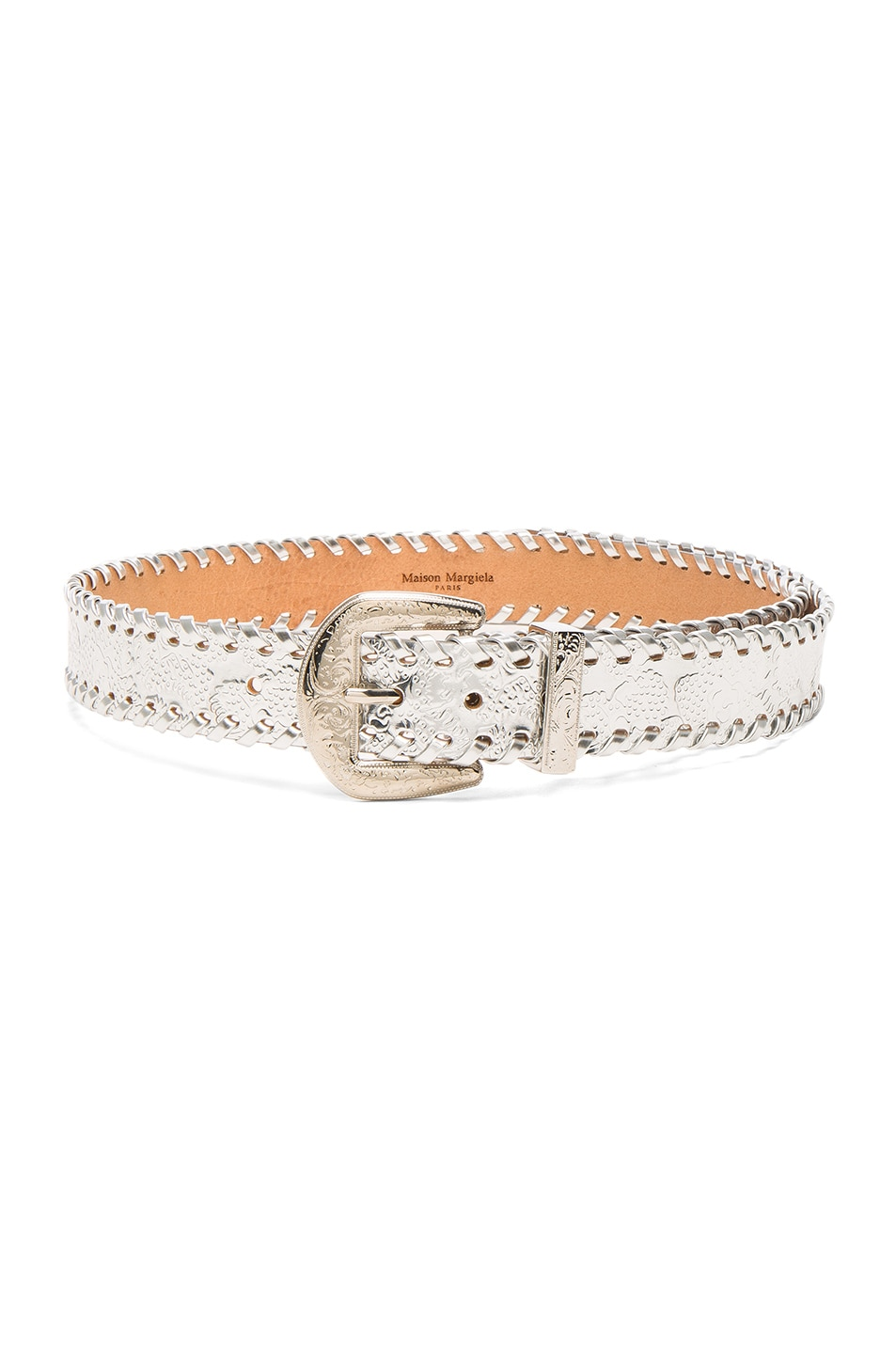 Image 1 of Maison Margiela Stitched Belt in Silver