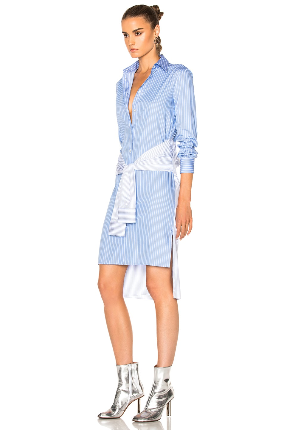 Maison Margiela Striped Cotton Poplin Shirt Dress In Blue Fwrd