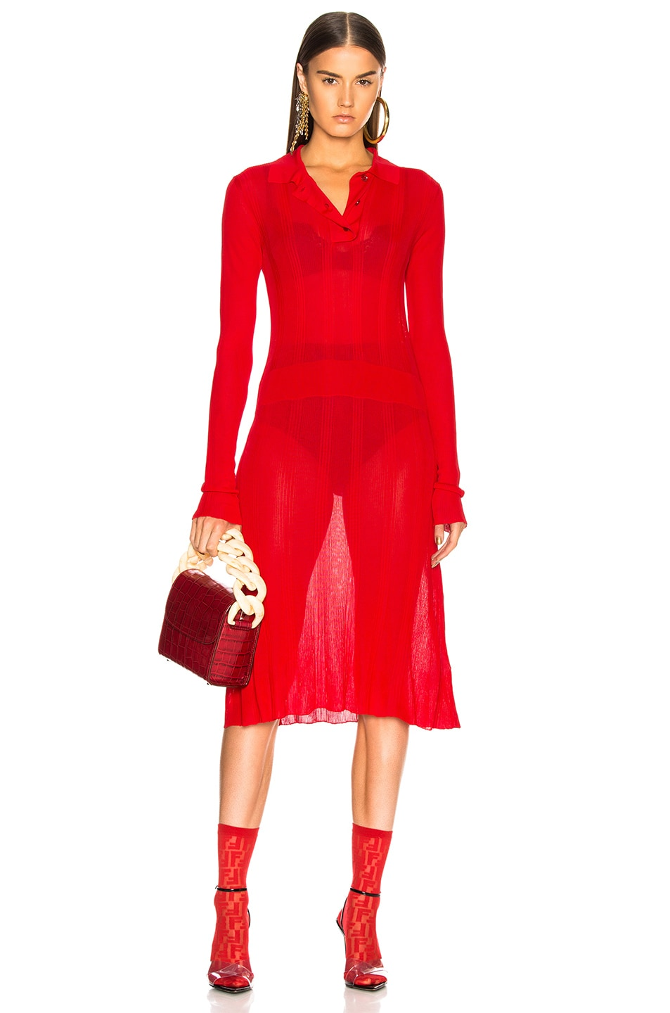Image 1 of Maison Margiela Irregular Rib Polo Sweater Dress in Red