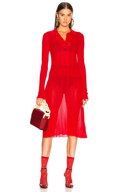 Maison Margiela Irregular Rib Polo Sweater Dress in Red
