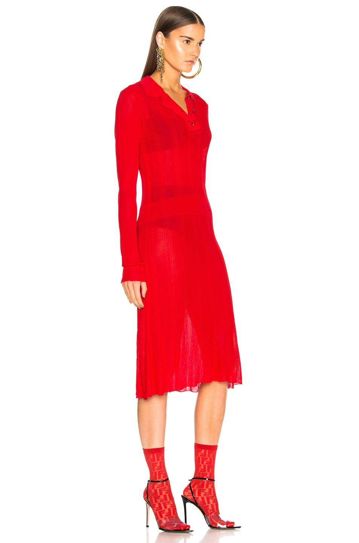 Image 2 of Maison Margiela Irregular Rib Polo Sweater Dress in Red