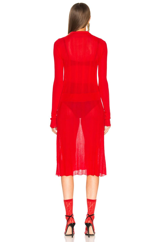 Image 3 of Maison Margiela Irregular Rib Polo Sweater Dress in Red