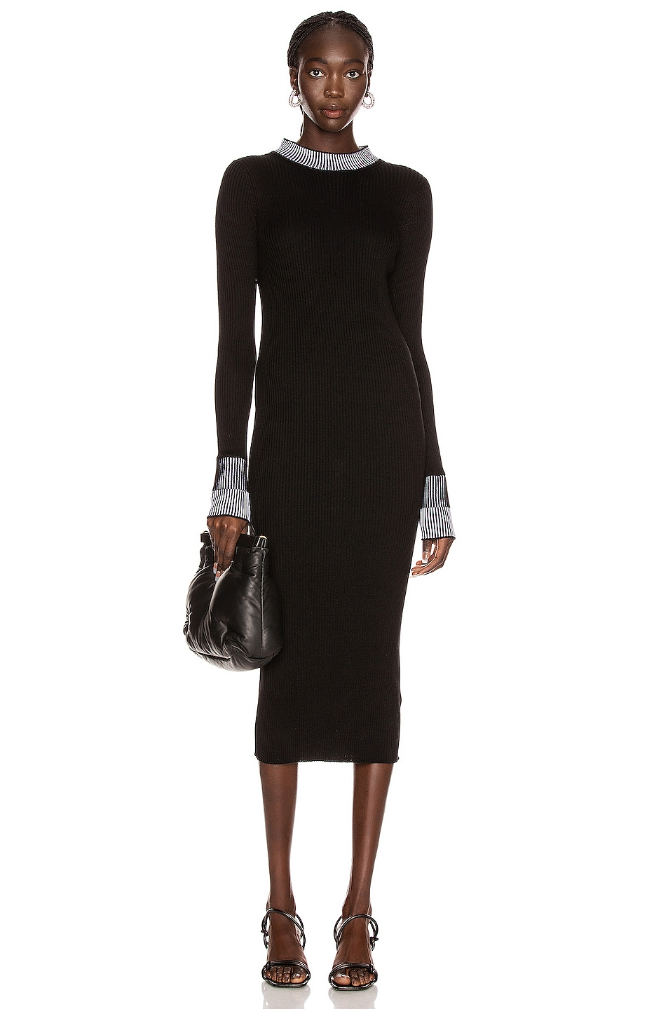 Image 1 of Maison Margiela Pleated Dress in Black & White