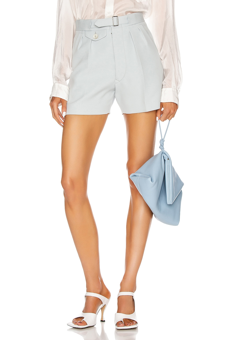 Image 1 of Maison Margiela Tailored Belted Short in Pale Blue