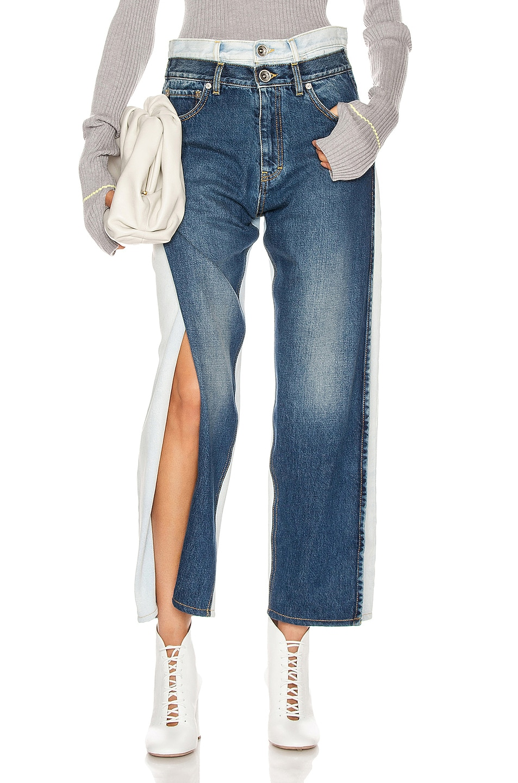 Image 1 of Maison Margiela Two Tone Wide Leg Jean in Blue Denim