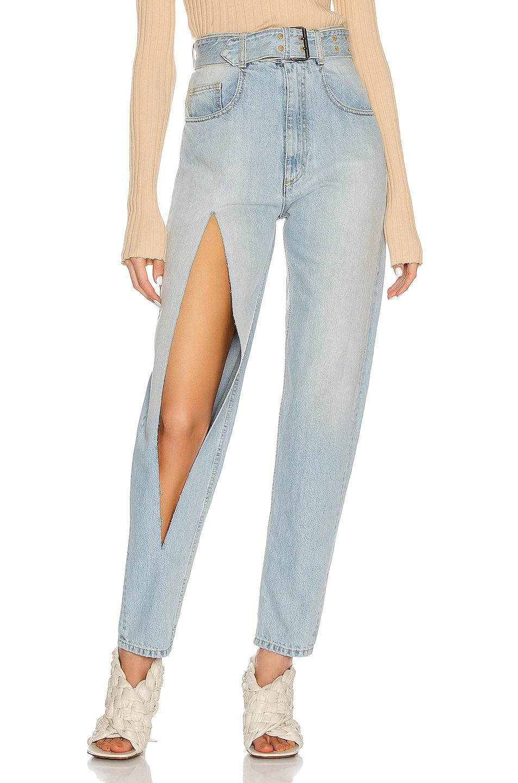 Image 1 of Maison Margiela Belted Slit Jean in Super Bleach