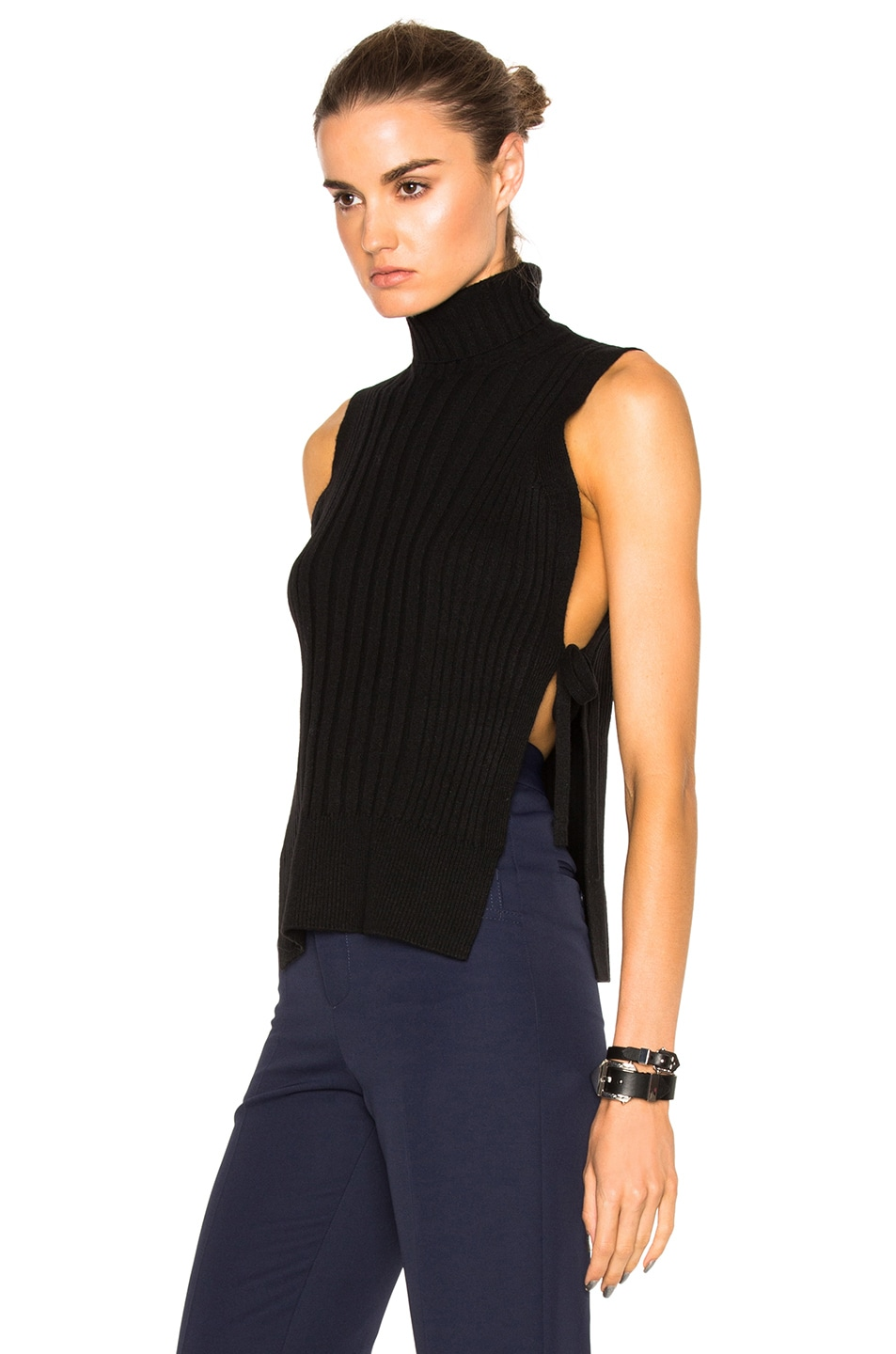 Image 2 of Maison Margiela Ribbed Sleeveless Sweater in Black