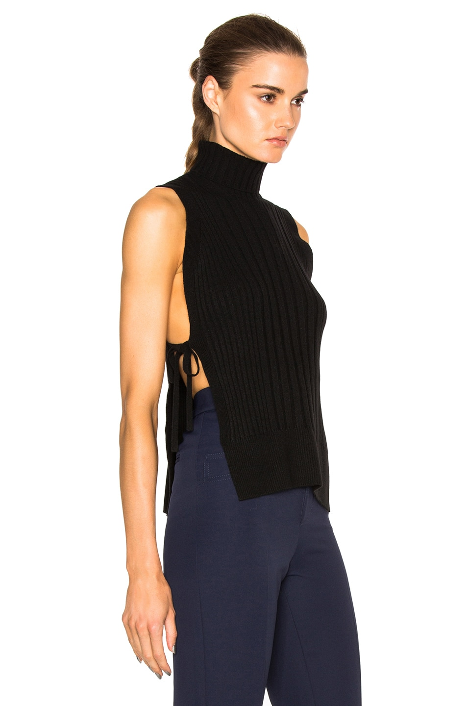 Image 3 of Maison Margiela Ribbed Sleeveless Sweater in Black