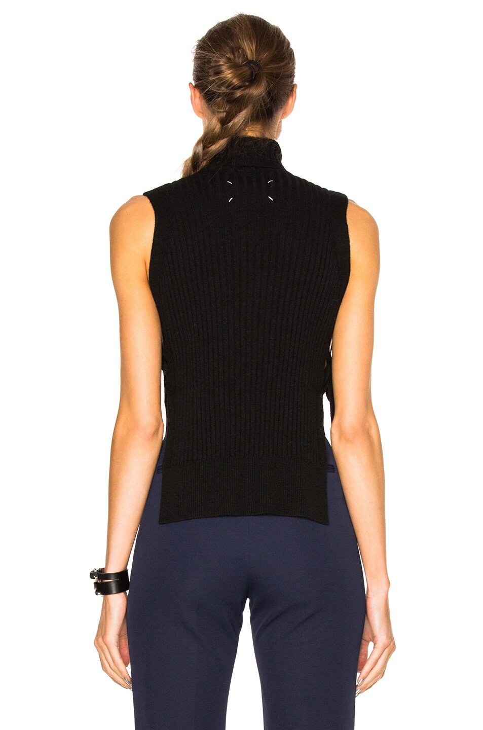 Image 4 of Maison Margiela Ribbed Sleeveless Sweater in Black