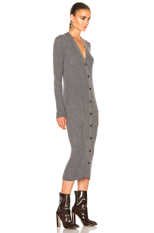 Image 3 of Maison Margiela Gauge Wool Rib Cardigan Dress in Grey Melange