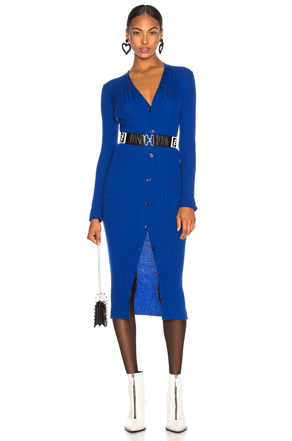 Image 1 of Maison Margiela Rib Knit Long Cardigan in Bluette